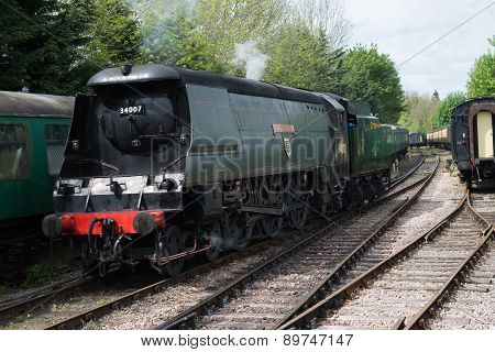 Steam train engine on the Watercress Line