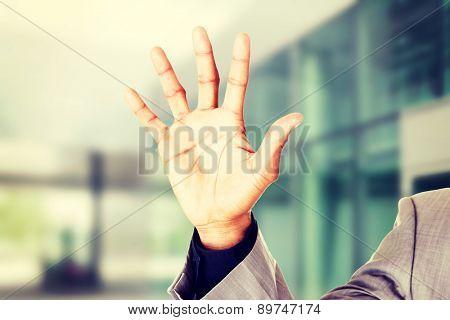 Male open hands, palms. Closeup