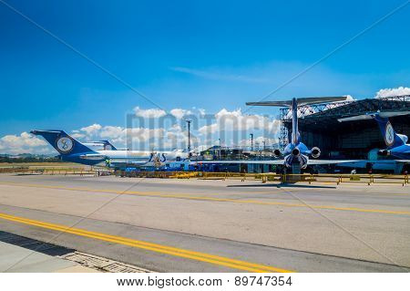 Lineas aereas suramericanas airplanes line up and hangar at international airport El Dorado Bogota C