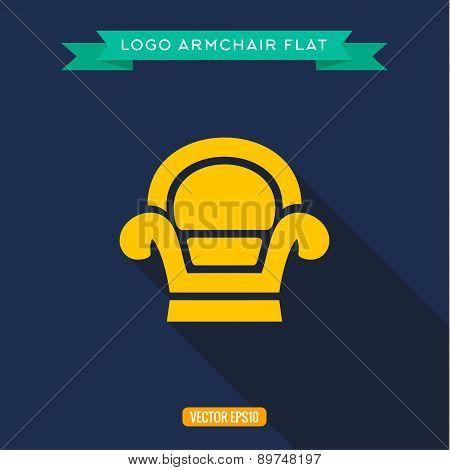 Armchair, logo, flat icon, vector illustration