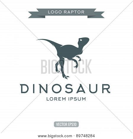 Dinosaur raptor reptile flat plain logo icon vector illustration