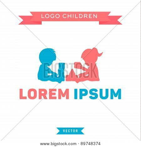 Logo, children playing with blocks, boy and girl, vector illustration