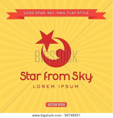 Logo star sky, reach for a dream, vector illustration