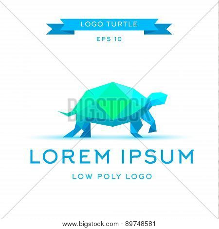 logo emerald tortoise, low poly, triangular polygons, vector illustration icon