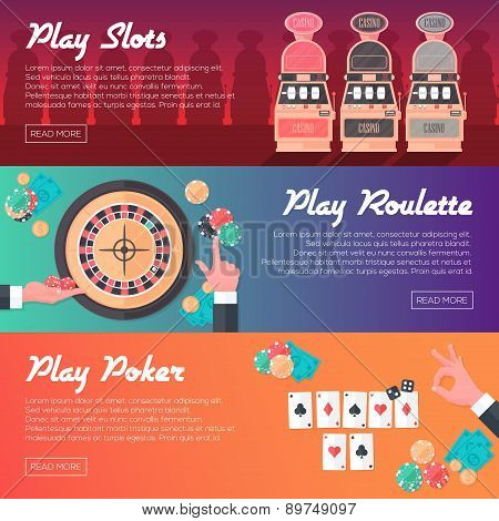 Casino Horizontal Banner Set (slot Machine, Poker And Roulette). Flat Style. Clean Design. Vector Il
