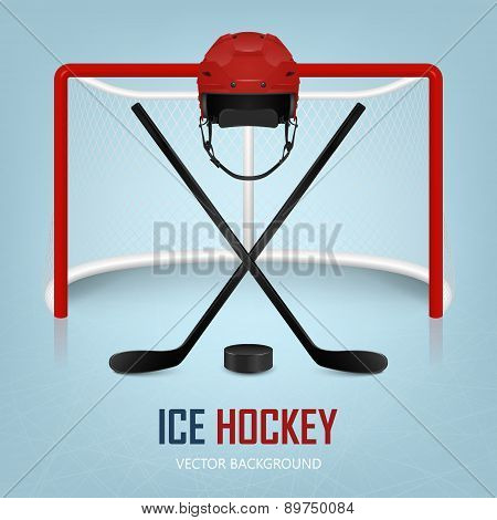 Ice Hockey Helmet, Puck, Sticks And Goal. Vector Background.