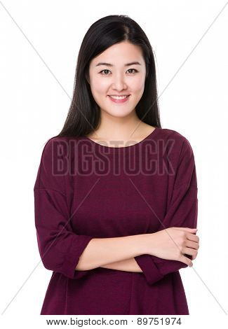 Asian woman arm crossed