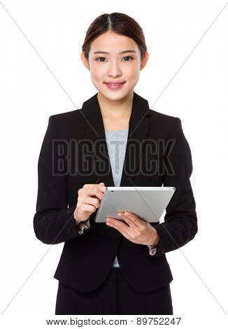 Asian businesswoman use of tablet pc