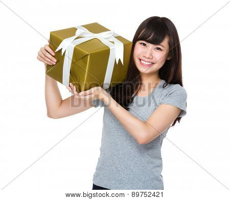 Young woman hold with gift box