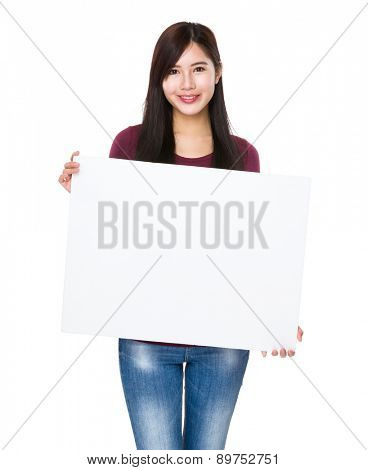 Young woman show with white board