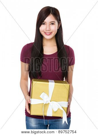 Asian woman show with big present box