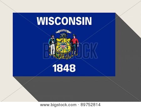 American State of Wisconsin flag in flat web design style.