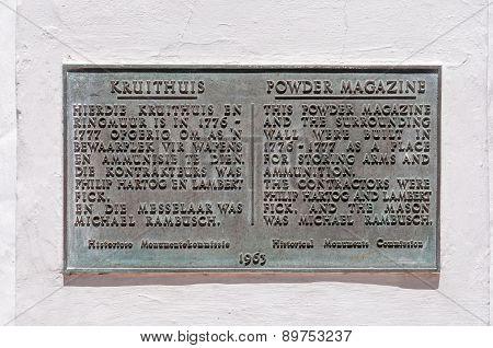 Bronze Plaque At The Historic Powder Magazine, Stellenbosch