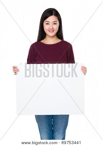 Woman show with white card