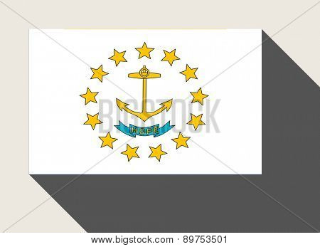 American State of Rhode Island flag in flat web design style.