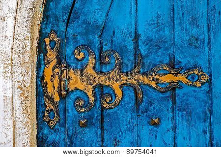 Background With Ancient Blue Door To The Castle 1