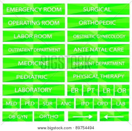 Set Of Hospital Sign And Medical Abbreviations