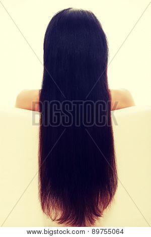 Woman's long beautiful brown hair