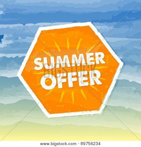 Summer Offer In Orange Label Over Sea Background