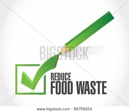 Reduce Food Waste Check Mark Sign Concept