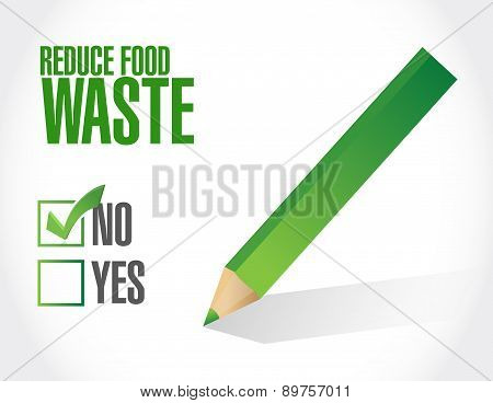 Negative. Reduce Food Waste Sign Concept