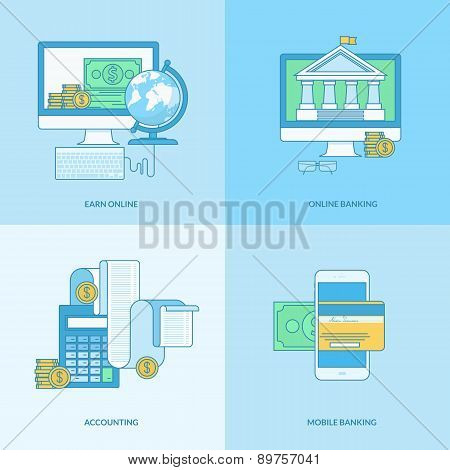 Set of line concept icons for internet banking