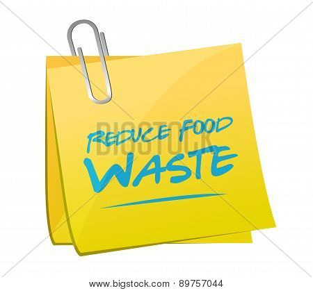 Reduce Food Waste Post Memo Sign Concept