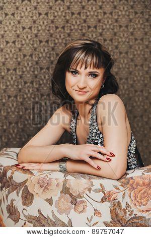 beautiful girl in elegant black dress