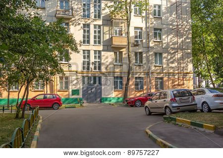 Parking In Courtyard Of A City Apartment House