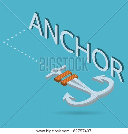 Vector isometric flat illustration of anchor