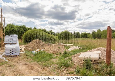 Construction Material And Debris In Field
