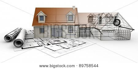 3D rendering of a house project on top of blueprints, showing different design stages