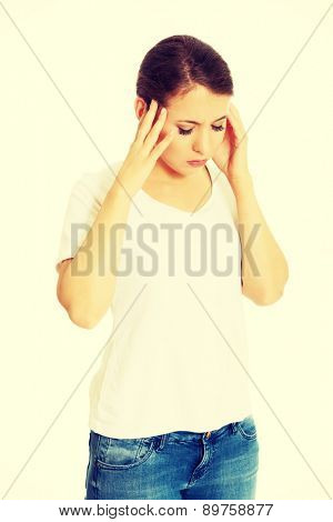 Woman with a huge headache
