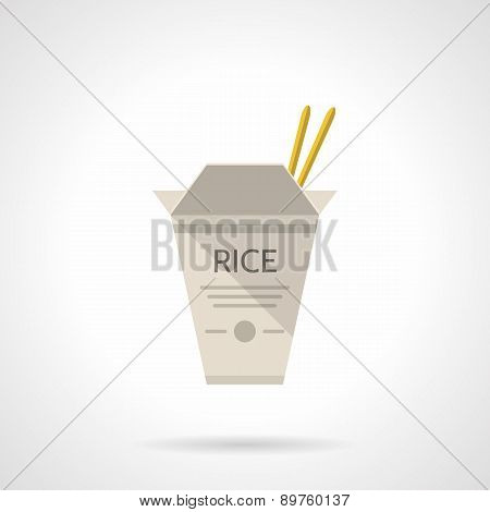 Rice box flat vector icon
