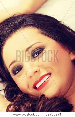 Portrait of a beauty woman lying