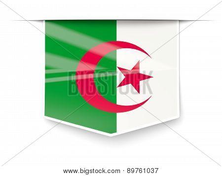 Square Label With Flag Of Algeria