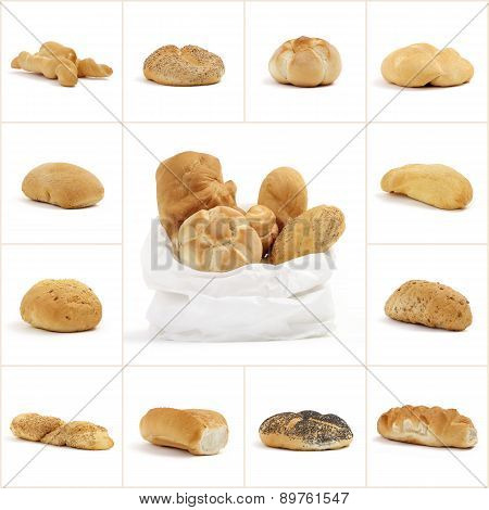 collage of bread with bag on white background