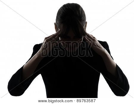 one business woman headache tired silhouette studio isolated on white background