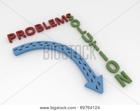 Curved Blue Arrow Symbol With Footsteps, Problems And Solution Concept