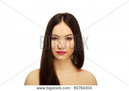 Beautiful caucasian woman with full make up.