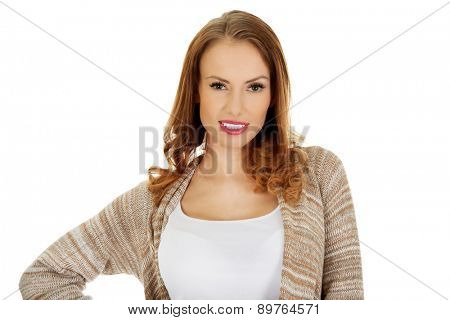 Happy casual confident woman smiling.