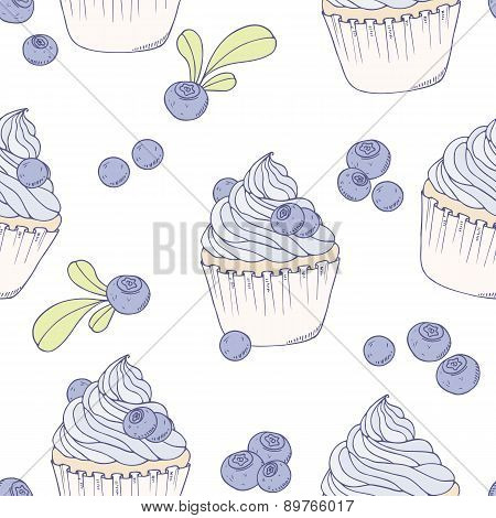 Hand Drawn Blueberry Cupcake Seamless Pattern