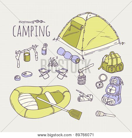 Hand Drawn Camping Items Collection