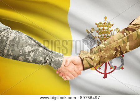 Men In Uniform Shaking Hands With Flag On Background - Vatican City