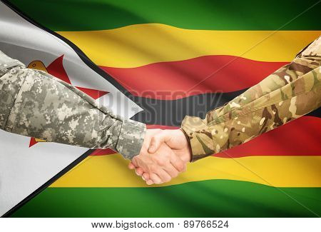 Men In Uniform Shaking Hands With Flag On Background - Zimbabwe