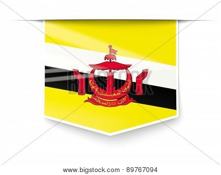 Square Label With Flag Of Brunei