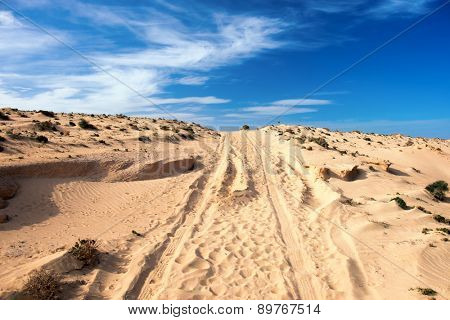 The road to the sandy desert
