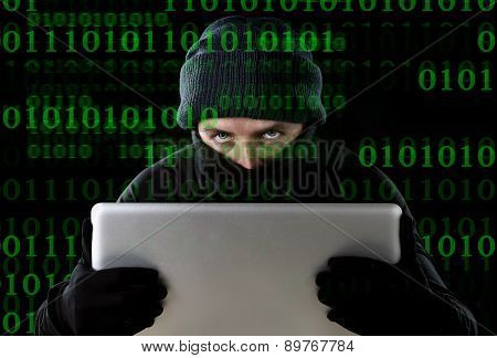 Hacker Man In Black Using Computer Laptop For Criminal Activity Hacking Password And Private Informa