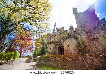 Spring view Lowenburg castle in Bergpark Kassel