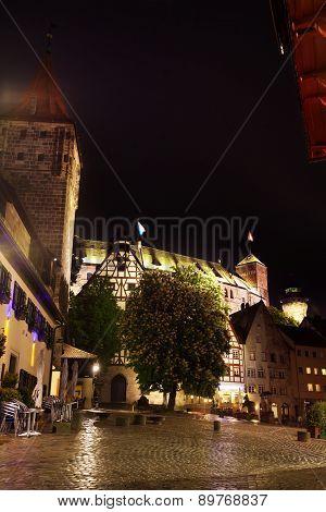 Night view of Nuremberg after rain, Bavaria